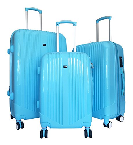 3 Pc Luggage Set Hardside Rolling 4wheel Spinner Upright Carryon Travel Sky Blue by Trendyflyer Collection