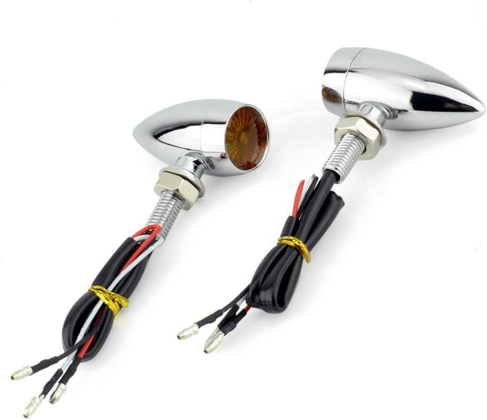 Black - Amber light Motorcycle Turn Signal Blinker LED Indicator Brake Mini For Harley Honda Cafe Racer