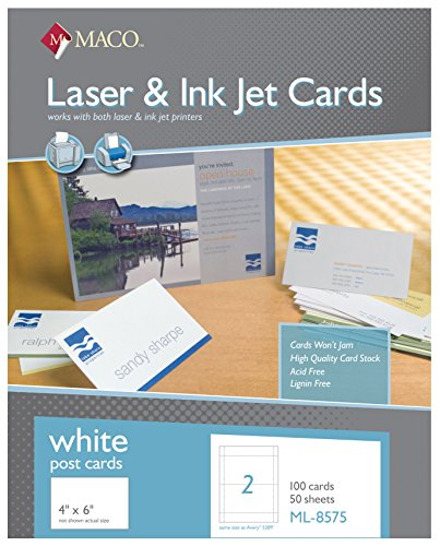 MACO Laser/Ink Jet White Post Cards, 4 x 6 Inches, 2 Per Sheet, 100 Per Box (ML-8575)