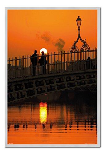 Dublin Ireland Halfpenny Bridge Sunset Poster Cork Pin Memo Board Silver Framed - 96.5 x 66 cms (Approx 38 x 26 inches) -