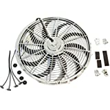 """Chrome 16"""" Heavy Duty Reversable Electric Cooling Fan 3000 CFM with Mounting Kit"""