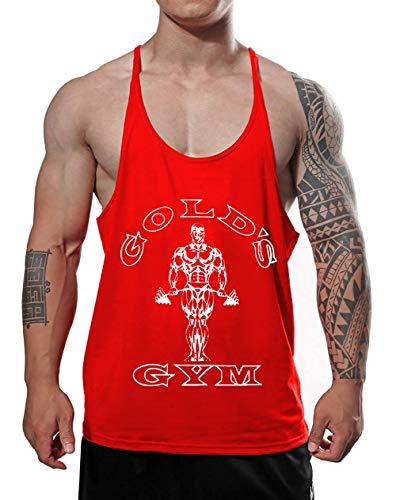 Alivegear Mens Golds Gym Muscle Bodybuilding Stringer Tank Tops Y Back Red Color Size XL