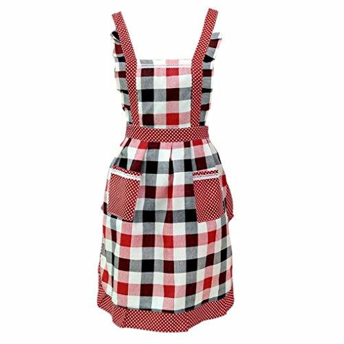ღ Ninasill ღ Restaurant Home Kitchen For Pocket Cooking Cotton Apron Bib (Red) (Oster Red Can Opener)