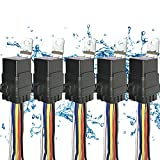 5 PACK 40/30 AMP Waterproof Relay and Harness - Heavy Duty 12 AWG Wiring Harness - 12V DC 5-PIN SPDT Bosch Style Automotive Relay