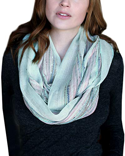 Anika Dali Festival Bliss Shimmer Infinity Scarf, Boho Sparkle Versatile Loop Shawl (Mint Green)