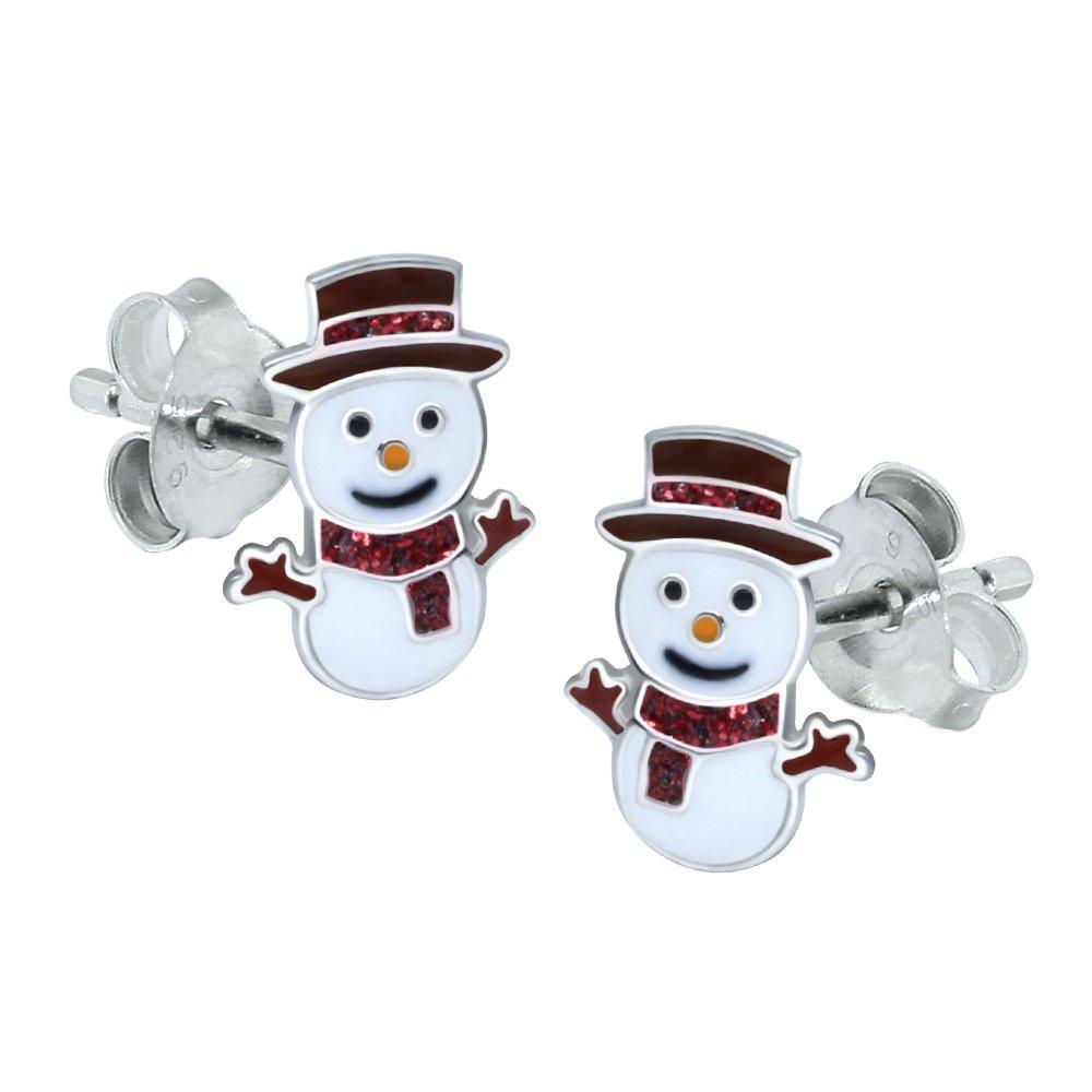 Auténtica Plata Esterlina Aretes Navidad Muñeco de nieve