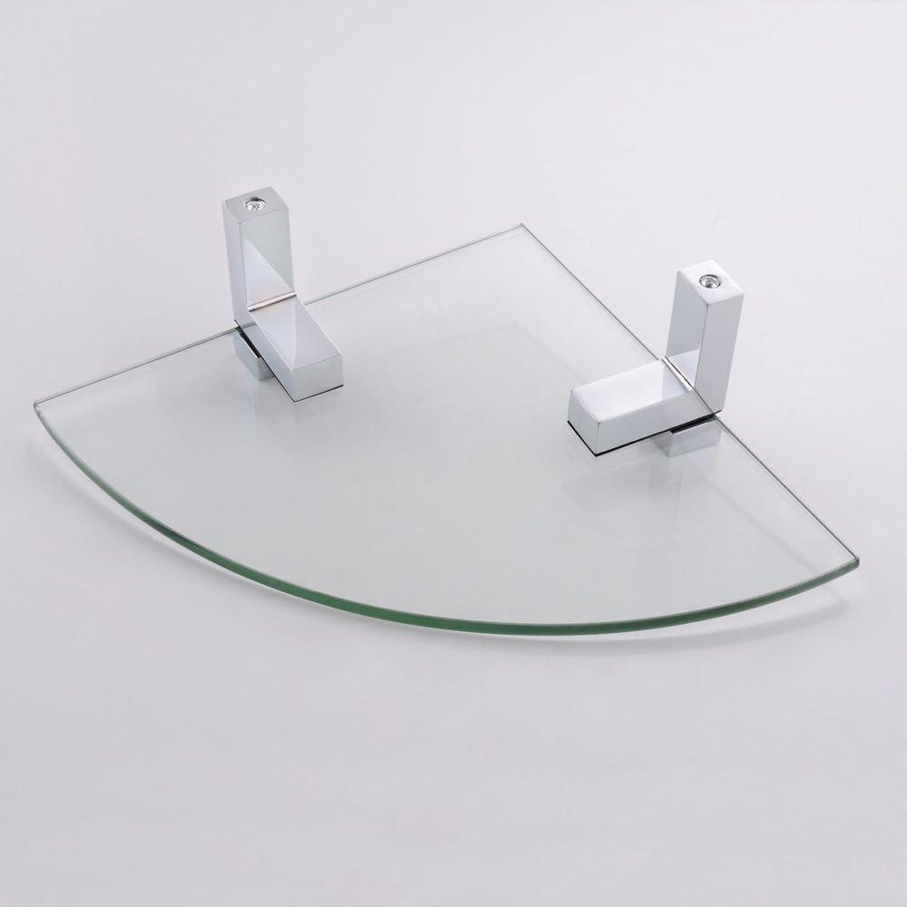 Pulido Cromo BGS3101 KES Estante de Vidrio Esquina Triangular 8MM de e Pared Montaje Ba/ño