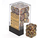 Chessex Dice d6 Sets: Lustrous Gold with Silver - 16mm Six Sided Die (12) Block of Dice (2-Pack)