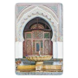 Bathroom Bath Rug Kitchen Floor Mat Carpet,Arabian,Golden Historical Fountain Photo in Morocco Africa Antique Mousque Palace Heritage,Multicolor,Flannel Microfiber Non-slip Soft Absorbent