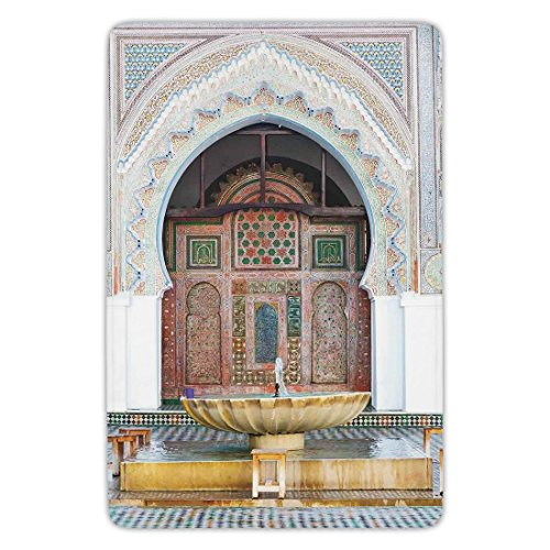 Bathroom Bath Rug Kitchen Floor Mat Carpet,Arabian,Golden Historical Fountain Photo in Morocco Africa Antique Mousque Palace Heritage,Multicolor,Flannel Microfiber Non-slip Soft Absorbent by iPrint