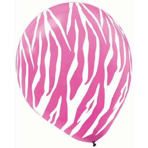 Zebra Pink & White Stripes Latex Balloons | Party Decor | 72 Ct. ()