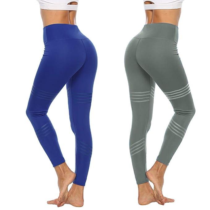 Lazzon Leggins Mujer Malla Deportivos Cintura Alta Pantalones para Training Running Yoga Fitness