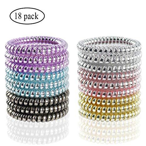 (Spiral Hair Ties No Crease - Colorful Coil Hair Ties Phone Cord Hair Ties Elastics Accessories 18Pcs )