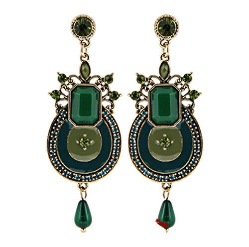 Crislu Pendant - Ethnic Vintage Charms Multicolor Enamel Crystal Long Pendants Statement Drop Earrings Jewelry - Green