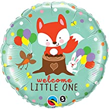 Qualatex 18 Inch Round Welcome Little One Fox & Friends Foil Balloon (One Size) (Green)