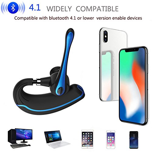 Walless Bluetooth Headset,Wireless Earpiece V4.1Hands Free Microphone for Business, Office,Driving,Work for iPhone/Samsung/Android Cell Phones (Black-B) by walless (Image #2)