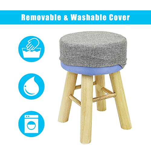 Jerry & Maggie - Footstool Fabric Ottomans Bench Seat Foot Rest Step Stool with Feet Protection Design | Round - Long 4 Legs - Light Grey by Jerry & Maggie (Image #2)