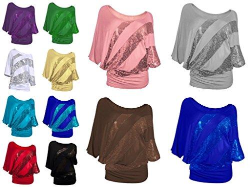 Blouse Chemise Femme Top T Shirt Paillette Courte Et YKK Smile Manche Zzq7xwPI8