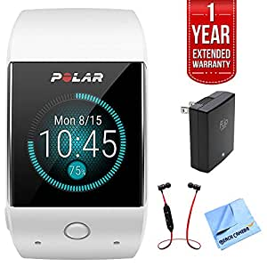 Polar M600 Sports GPS Smart Watch White Bundle with Fusion Bluetooth Headphones Black/Red, USB Wall Charger, Micro Fiber Cloth, and 1 Year Extended Warranty