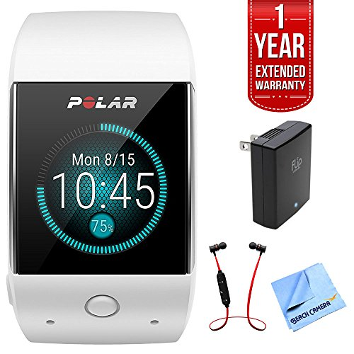 Polar M600 Sports GPS Smart Watch White Bundle with Fusion Bluetooth Headphones Black/Red, USB Wall Charger, Micro Fiber Cloth, and 1 Year Extended Warranty by Polar