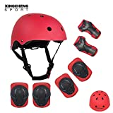 SLA-SHOP Kids Boys and Girls Protective Gear Set, Outdoor Sports Safety Equipment 7Pcs Child Helmet Knee &Elbow Pads Wrist Guards for Roller Scooter Skateboard Bicycle(3-8Years Old)(Red)