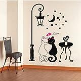 Anself Black Cat under Street Lamp Design Picture Art Peel & Stick Wall Sticker DIY Vinyl Wall Decal
