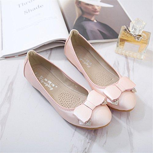 LIVY 2017 de primavera y verano nuevos sencillos zapatos de las mujeres ronda los zapatos planos del arco zapatos de color sólido hebillas Rosado