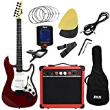 LyxPro 39' inch Electric Guitar with 20w Amp, Package Includes All Accessories, Digital Tuner, Strings, Picks, Tremolo Bar, Shoulder Strap, and Case Bag Complete Beginner Starter kit Pack Full Size