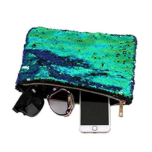 Sequin Pouch Makeup Cosmetic Bag Reversible Sequin Handbag Bling Glitter Evening Party Mermaid Clutch Beauty Bag (Evening Bag Purse Makeup)