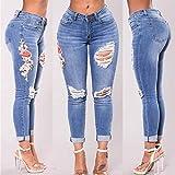 Women Jeans! AMA(TM) Women Corner Embroidered Skinny Slim Jeans Elastic Pants Trousers (M, C)