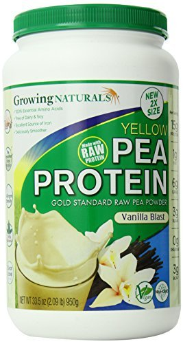 Growing Naturals Pea Protein Powder, Vanilla, 950 Gram (Pack of 3)