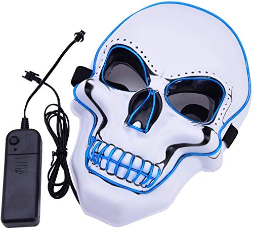 Máscara LED de Halloween, Máscara de luz, Máscara parpadeante Máscara colorida de Rave Los colores brillan para festivales / Halloween / Navidad / Noche de hogueras / Fiesta / Juegos / Regalo