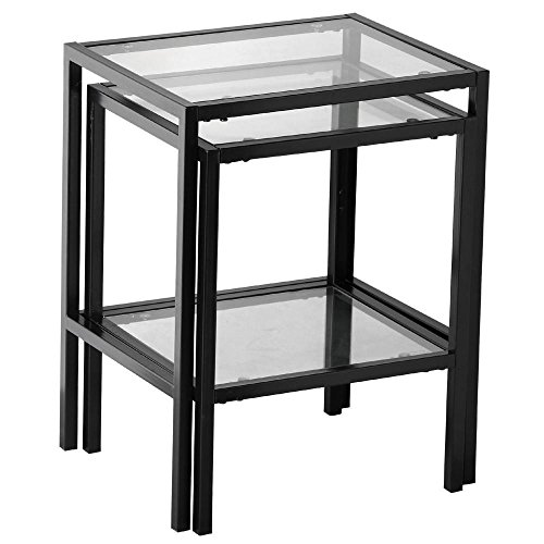 Yaheetech set of 2pcs glass nesting tables living room sofa side end table set black frame Black glass side tables for living room