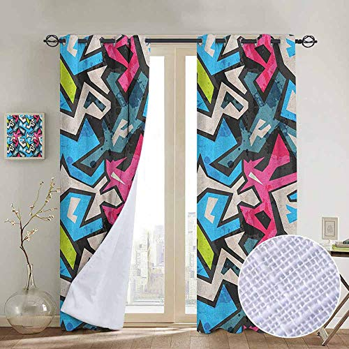 NUOMANAN backout Curtains for Bedroom Grunge,Street Art Theme with Colorful Graffiti Funky Display Underground Urban Culture, Multicolor,Pocket Thermal Insulated Tie Up Curtain 84