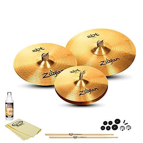 Zildjian ZBT 3 Starter Box Set (ZBTS3P-9) Kit - Includes: Drumsticks, Felts, Sleeves, Cup Washers, Polish & (Cymbals Zbt)