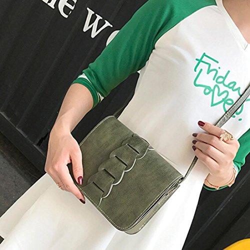 ESAILQ Cuero Bolso de Hombro Bolsa De Mochila Multiusos Baratos Para Movil Mujer Niñas I Verde