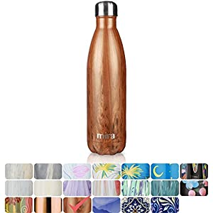 MIRA Vacuum Insulated Travel Water Bottle | Leak-proof Double Walled Stainless Steel Cola Shape Sports Water Bottle | No Sweating, Keeps Your Drink Hot & Cold | 25 Oz (750 ml) (Wood)