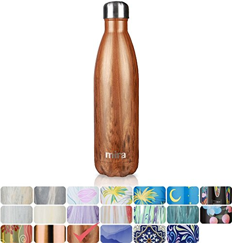 MIRA Vacuum Insulated Travel Water Bottle | Leak-proof Double Walled Stainless Steel Cola Shape Sports Water Bottle | No Sweating, Keeps Your Drink Hot & Cold | 25 Oz (750 ml) (Wood) (Insulated Travel Bottle)