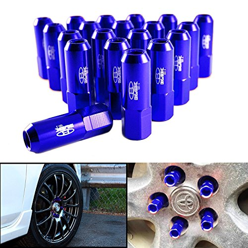 20 Pieces BLUE Aluminum Tuner Extended Lug Nuts Tire Screw for Wheels Rims M12 X 1.5 (Scion Alloy Wheels)