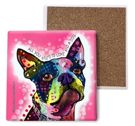 SJT ENTERPRISES, INC. Boston Terrier - All You Need is Love and a Dog Absorbent Stone Coasters, 4-inch (4-Pack) Features The Artwork of Dean Russo (SJT07004)