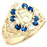10k Yellow Gold CZ Quinceanera 15 Anos Simulated Birthstone Ring