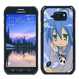 Samsung Galaxy S6 active Case,Personalized Lucky Star Izumi Konata Girl Phone Smiling Black Samsung Galaxy S6 active Case Cocer