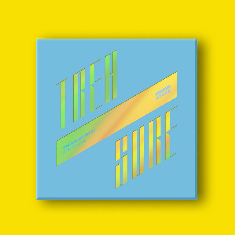 KQ ATEEZ - Treasure EP.3 : One to All [Wave ver.] CD+104p Photobook+3Photocard+8Postcard+On Pack Poster+Sticker+Double Side Extra Photocards Set