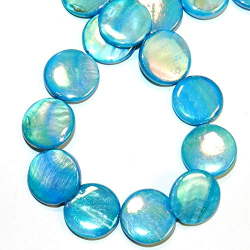 Blue AB 20mm Flat Round Coin Mother of Pearl Gemstone Shell Beads 14#ID-6582 ()