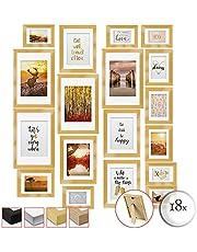 bomoe Passion Set van 18 Fotolijsten Houten Picture Frames - 6x 10,5x15cm / 4x 13x18cm / 4x 18x24cm / 4x 20x30cm – kunststof glas Fotolijst van Hout - Metalen Ophanging - Standaard & Passepartout