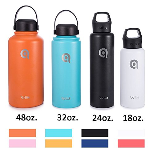 qottle 24oz Vacuum Insulated stainless steel water Bottle, double wall Vacuum for hot and cold Insulation flask for outdoor sport camping hiking-black