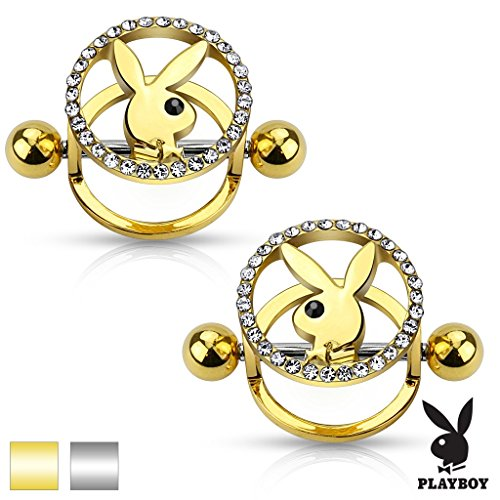 Nipple Bar Playboy Bunny Centered CZ Paved Circle Shield - Playboy Circles