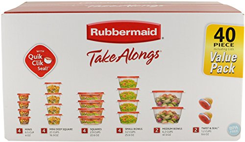 Rubbermaid TakeAlongs Assorted Food Storage Container, 40 Piece Set