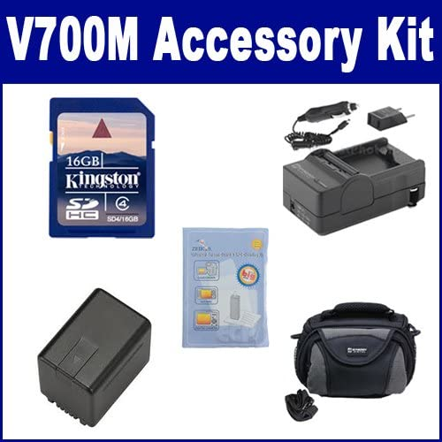 SDVWVBK360 Battery SD4//16GB Memory Card SDC-26 Case Panasonic V700M Camcorder Accessory Kit Includes: SDM-1529 Charger ZELCKSG Care /& Cleaning
