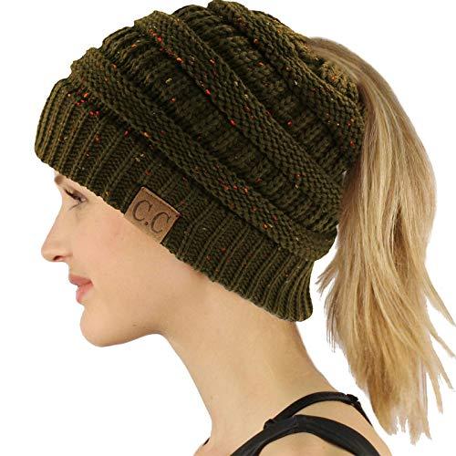 CC Ponytail Messy Bun BeanieTail Soft Winter Knit Stretchy Beanie Hat Cap Confetti New Olive